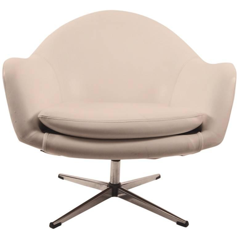 swivel pod chair blue and white striped vinyl by overman for sale at 1stdibs