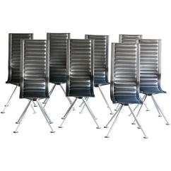 Conference Chairs For Sale Shaker Rocking Chair Kit Set Of Eight Tito Agnoli Ycami Black Leather High Back
