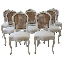Antique Cane Seat Dining Chairs Graco High Chair Duodiner Cover Set Of Eight Vintage French Painted Back At 1stdibs