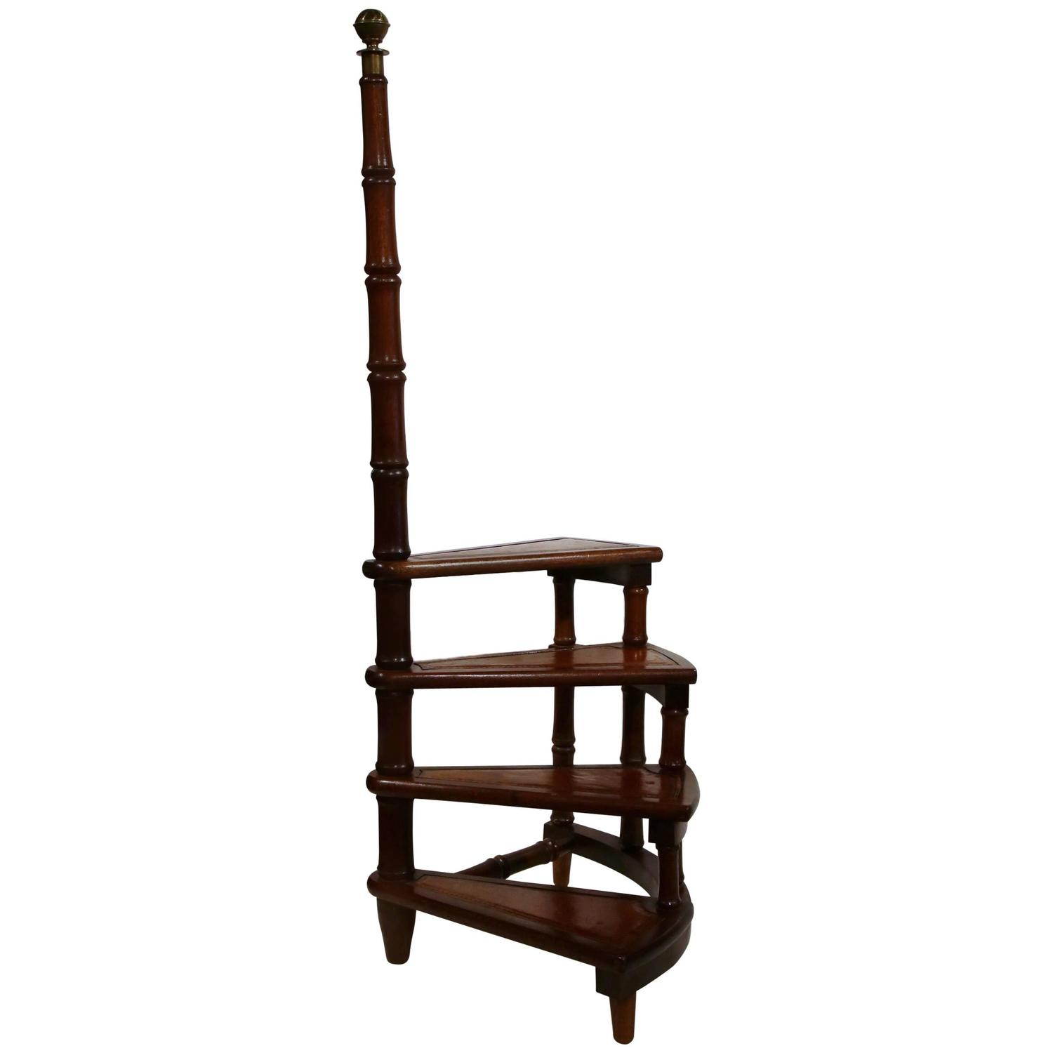 Library Ladder Chair Vintage English Library Step Ladder With Leather Stairs At