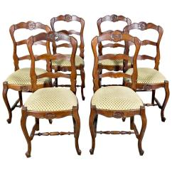 Country French Chairs Upholstered Spanish Colonial Dining Set Of Six Ladder Back With Seats For Sale
