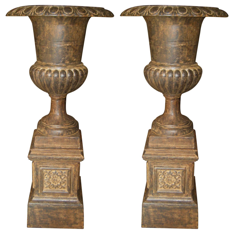 Large Pair Of Antique Cast Iron Garden Urns And Pedestals