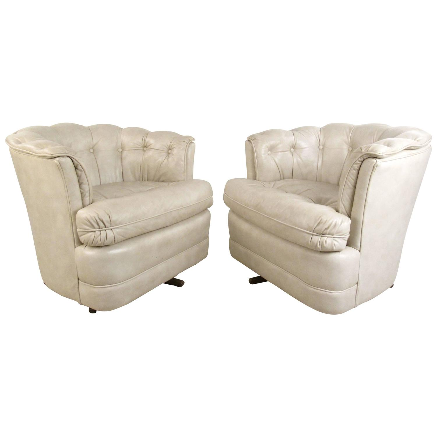 modern leather swivel lounge chair designer wingback chairs pair of vintage tufted mid