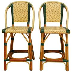 Green French Bistro Chairs Reupholster Swivel Office Chair Pair Of Rattan Maison Gatti Bar Stools At