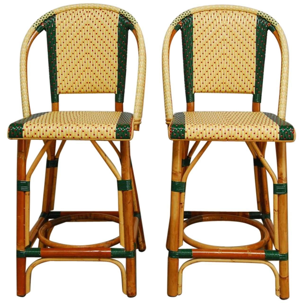 french rattan bistro chairs pink butterfly chair pair of maison gatti bar stools at