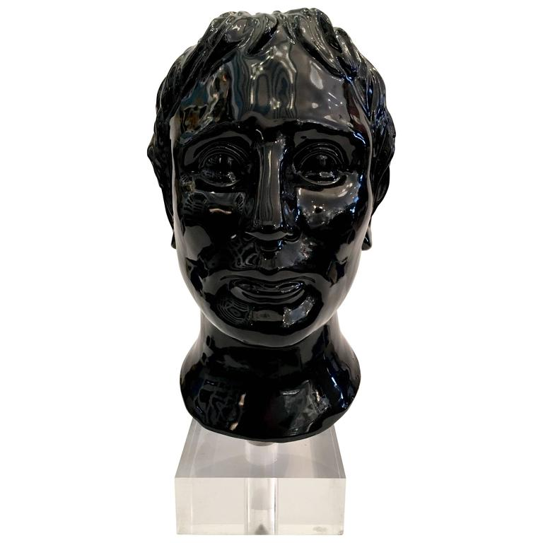1970s Ceramic Male Bust With Lucite And Chrome Base At 1stdibs