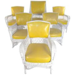 Vinyl Wicker Chairs Folding Rocking Lawn Chair Set Of Six Vintage And Mid Century Modern Patio Seating For