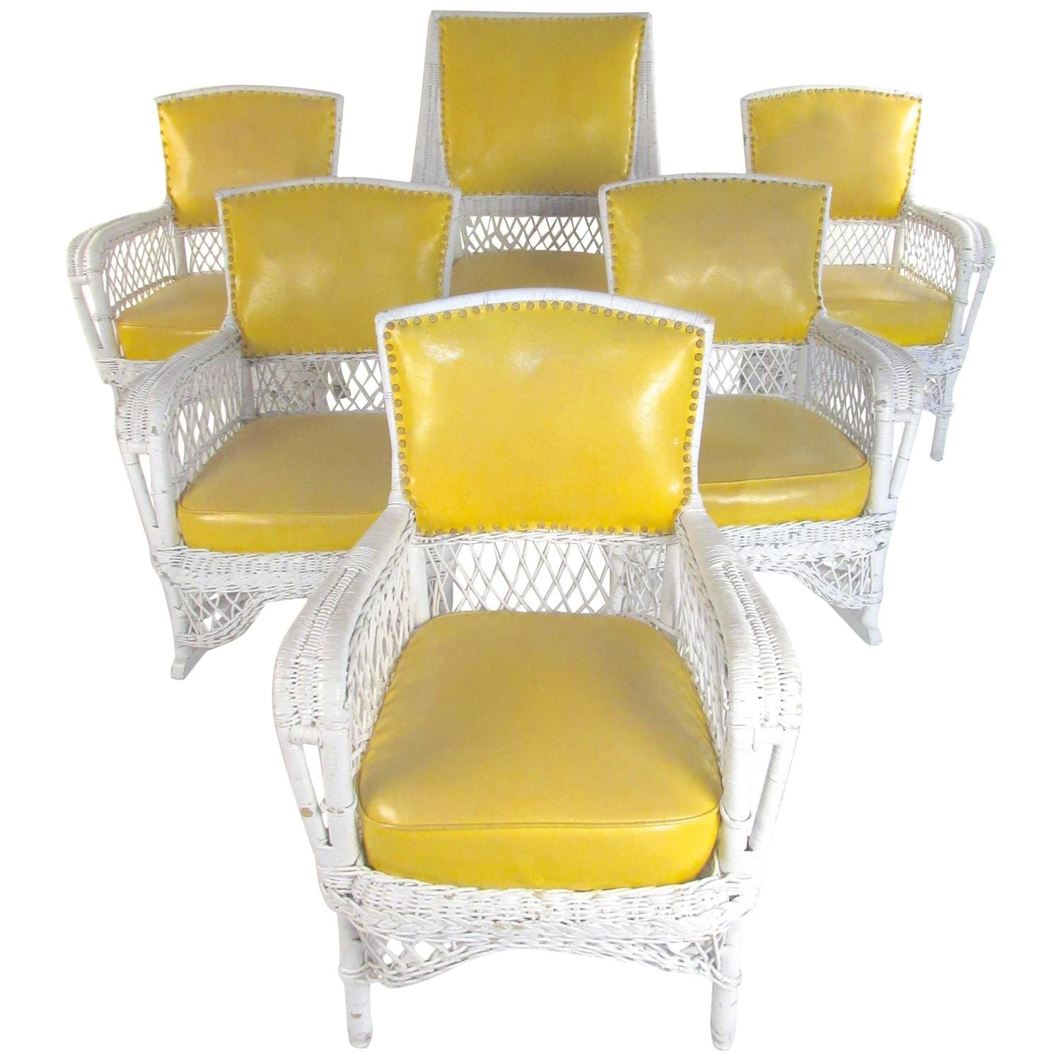 vinyl wicker chairs rattan armchair set of six vintage and mid century