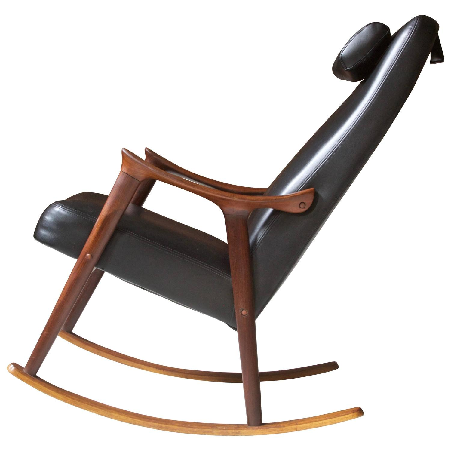 antique rocking chairs without arms patio swivel chair ingmar relling for westnofa sculpted teak and black vinyl