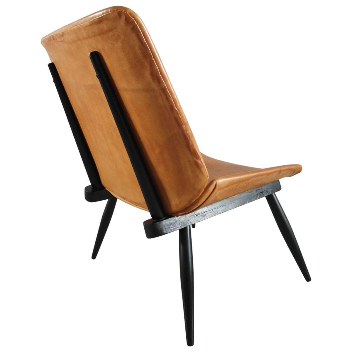 Tapiovaara Style Scandinavian Leather Easy Chair with