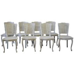 Cane Back Dining Room Chairs Cast Iron Table And Nz Set Of Eight Painted Vintage French
