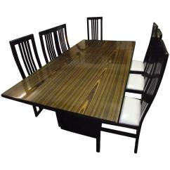 Retro Dining Room Table And Chairs Osaki Massage Zebra Wood Matching For Sale