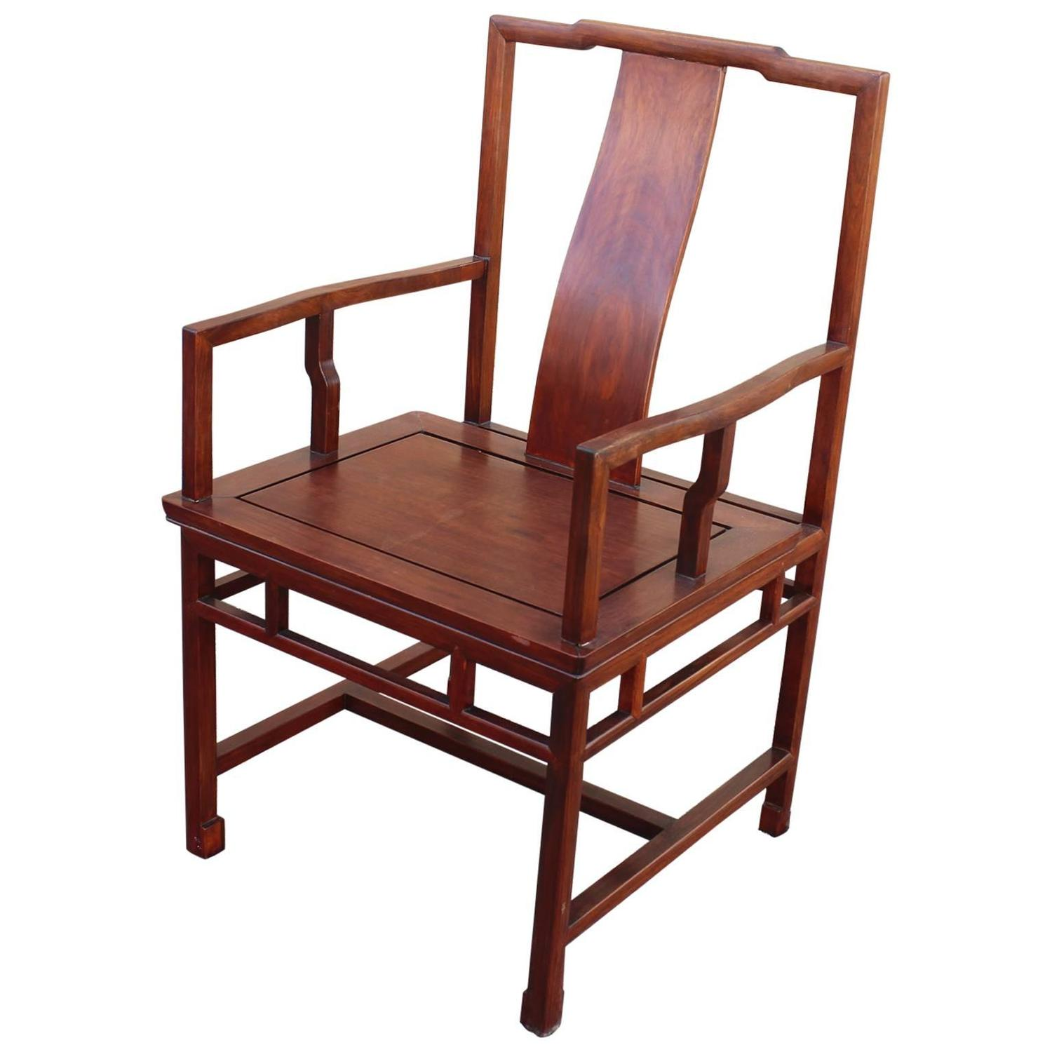 Japanese Chair Asian Ming Style Yoke Back Solid Rosewood Chair For Sale