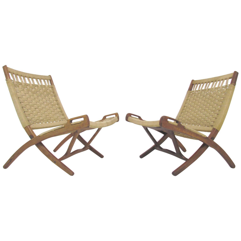 yugoslavian folding chair blue cushions pair of mid century hans wegner style scissor