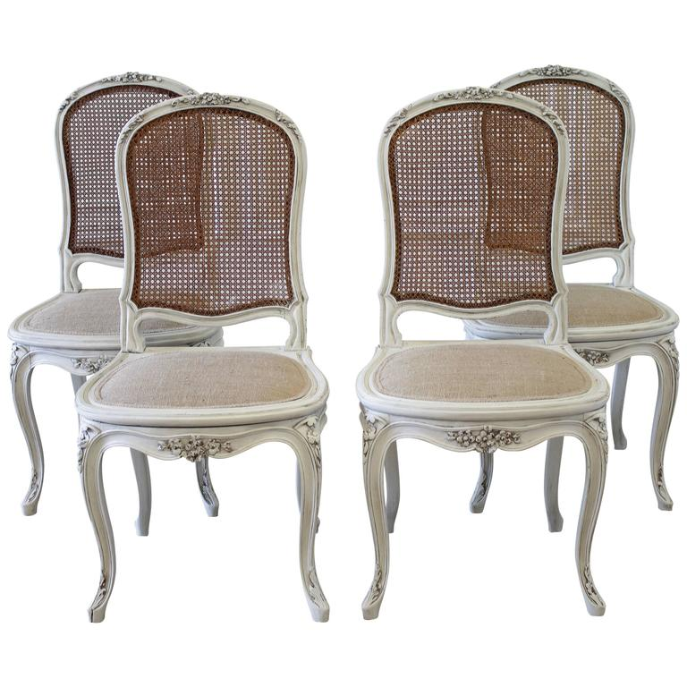 cane back dining room chairs hanging chair olx set of four louis xv style french painted at for sale