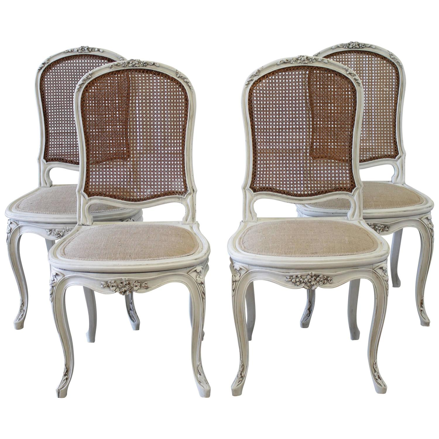 Cane Dining Chairs Set Of Four Louis Xv Style French Painted Cane Back Dining