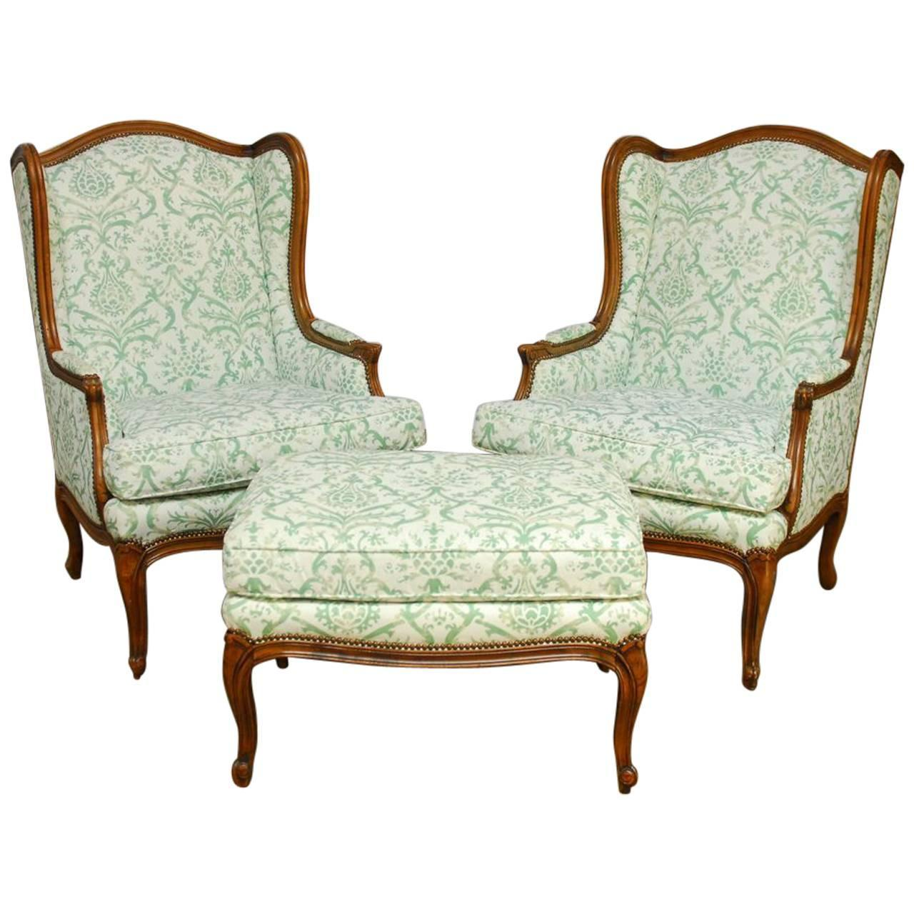 wingback chair for sale rustic accent chairs pair of baker with fortuny upholstery