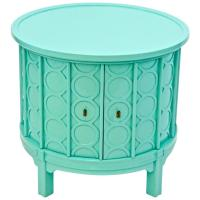 Mid-Century Drum Side Table with Doors, newly lacquered ...