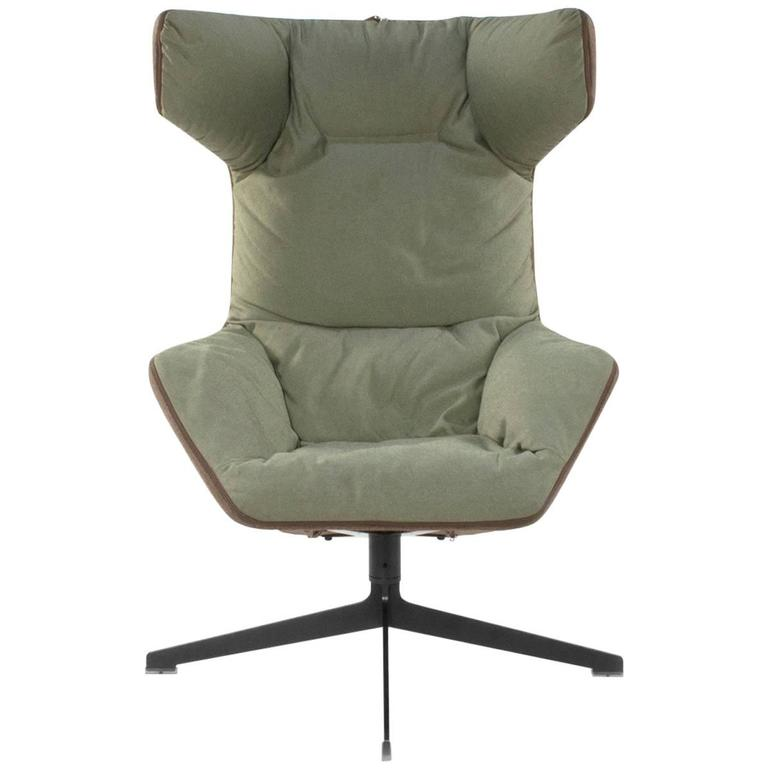 modern leather swivel lounge chair acrylic dining moroso take a line for walk wingback by alfredo haberli, italy at 1stdibs