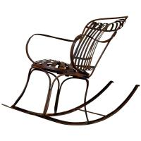 Rocking Chair Metal, French, circa 19th Century For Sale