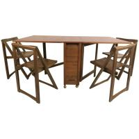 Mid-Century Modern Drop-Leaf Table with Chairs at 1stdibs