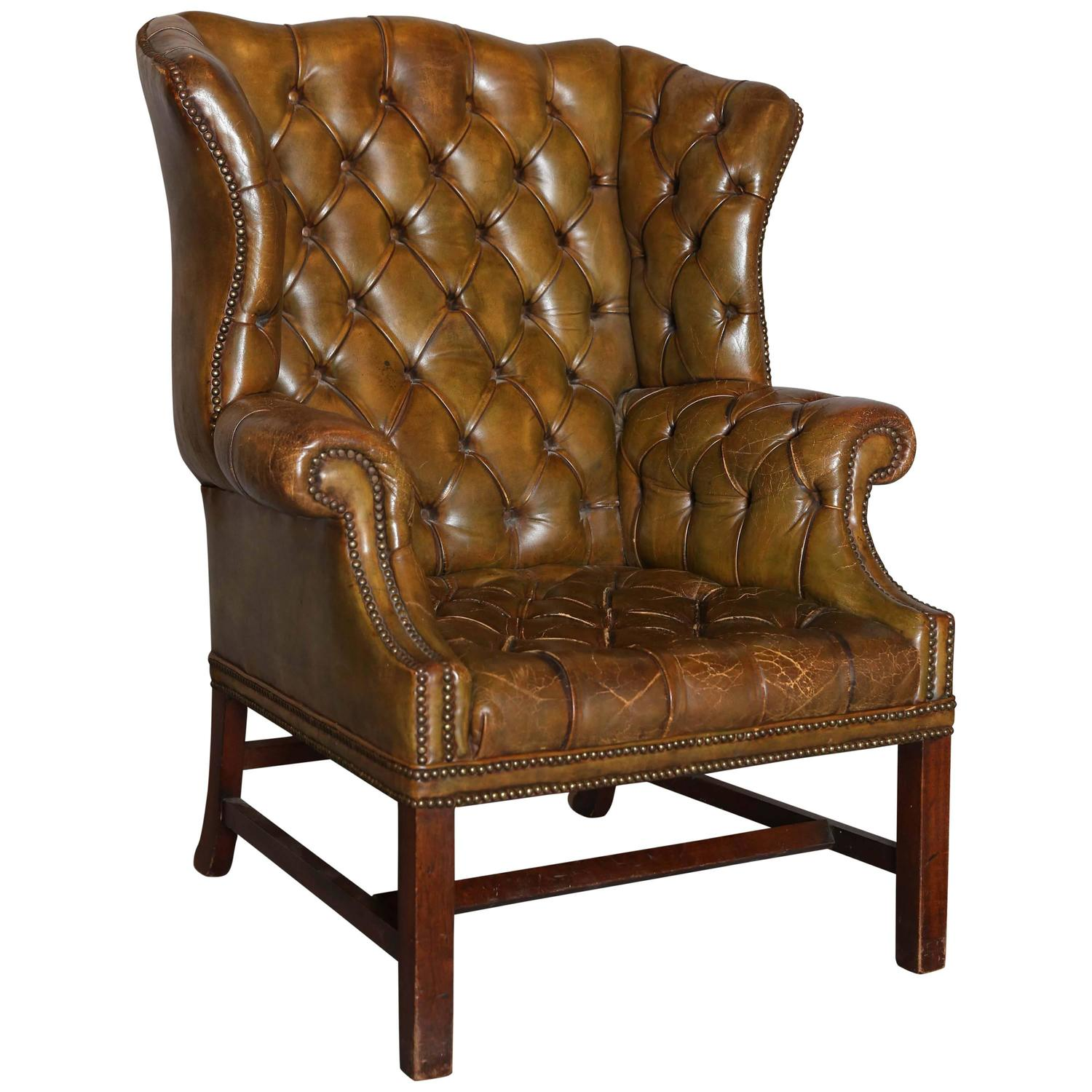 Vintage Wingback Chair Antique English Distressed Leather Wing Chair At 1stdibs
