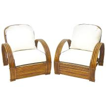 Rattan Lounge Chairs Pair With Ottoman 1stdibs