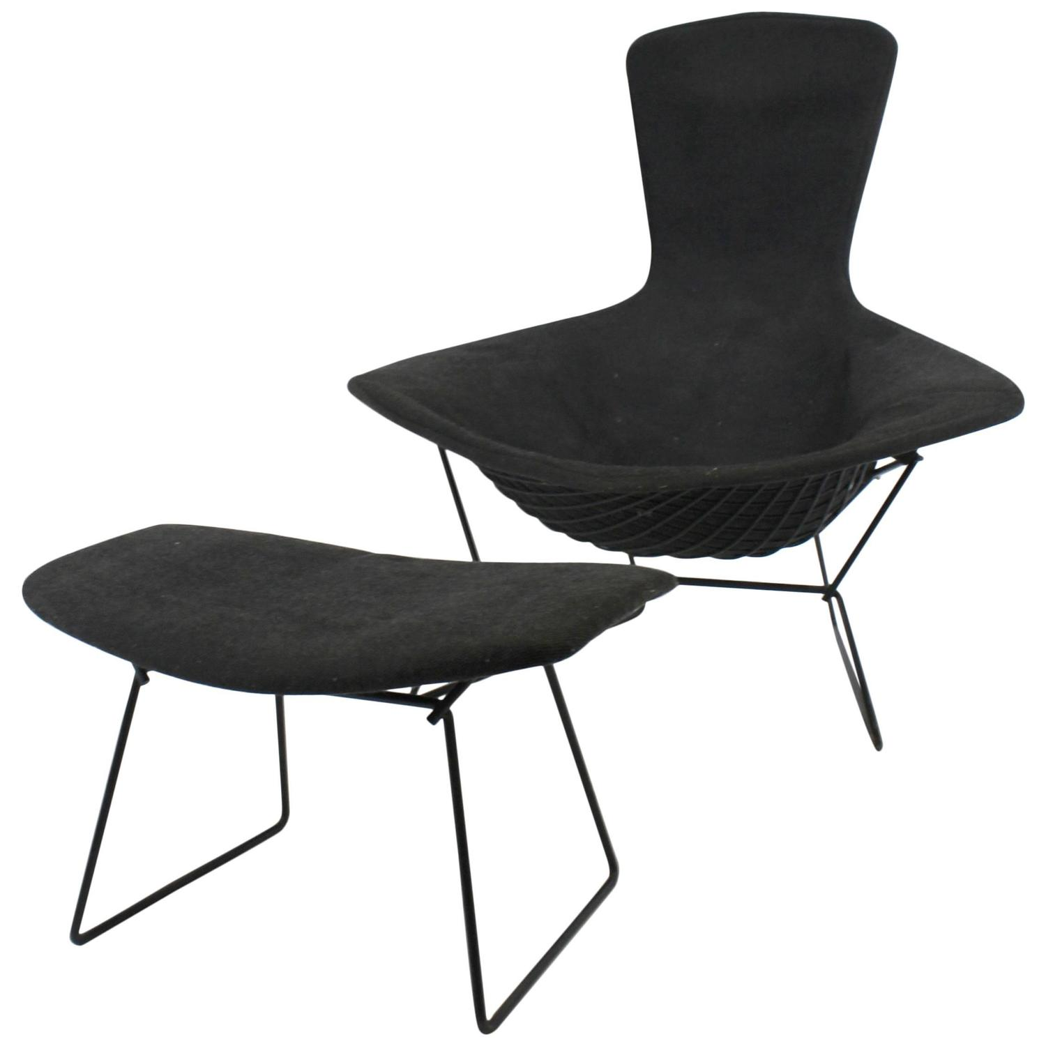 knoll bertoia chair with side table vintage bird and ottoman by harry for