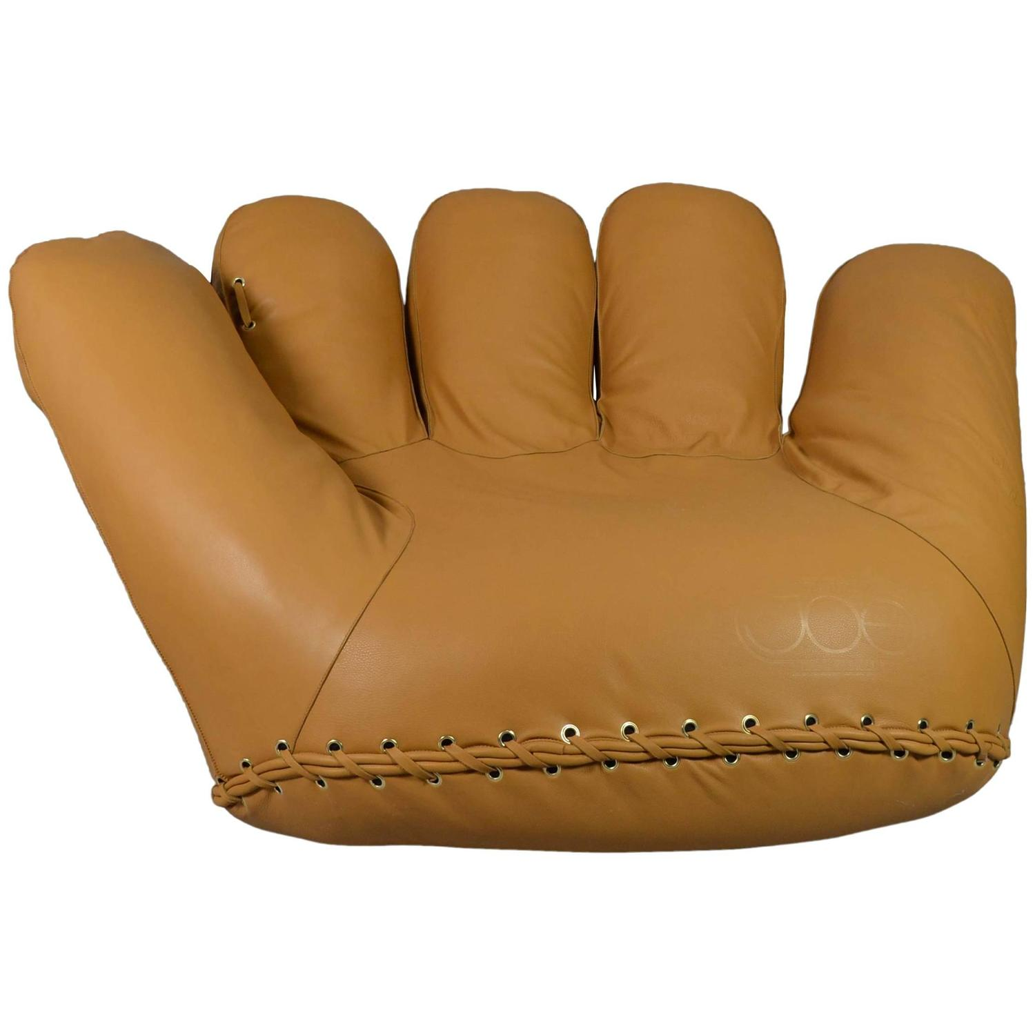 baseball glove chair home goods cheap banquet covers rental joe lounge leather at 1stdibs
