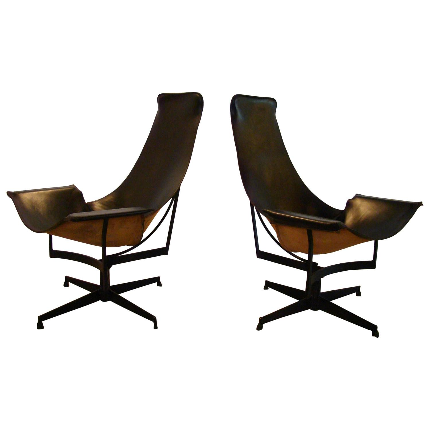 sling chairs for sale walmart white chair pair of william katavolos leather swivel lounge