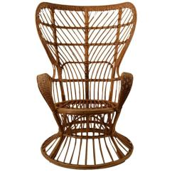 Fan Back Wicker Chair Steel Size By Lio Carminati For Sale At 1stdibs