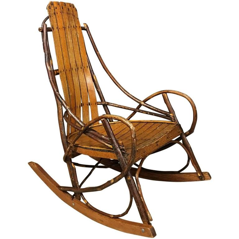 Vintage American Adirondack Rocking Chair 1920s For Sale