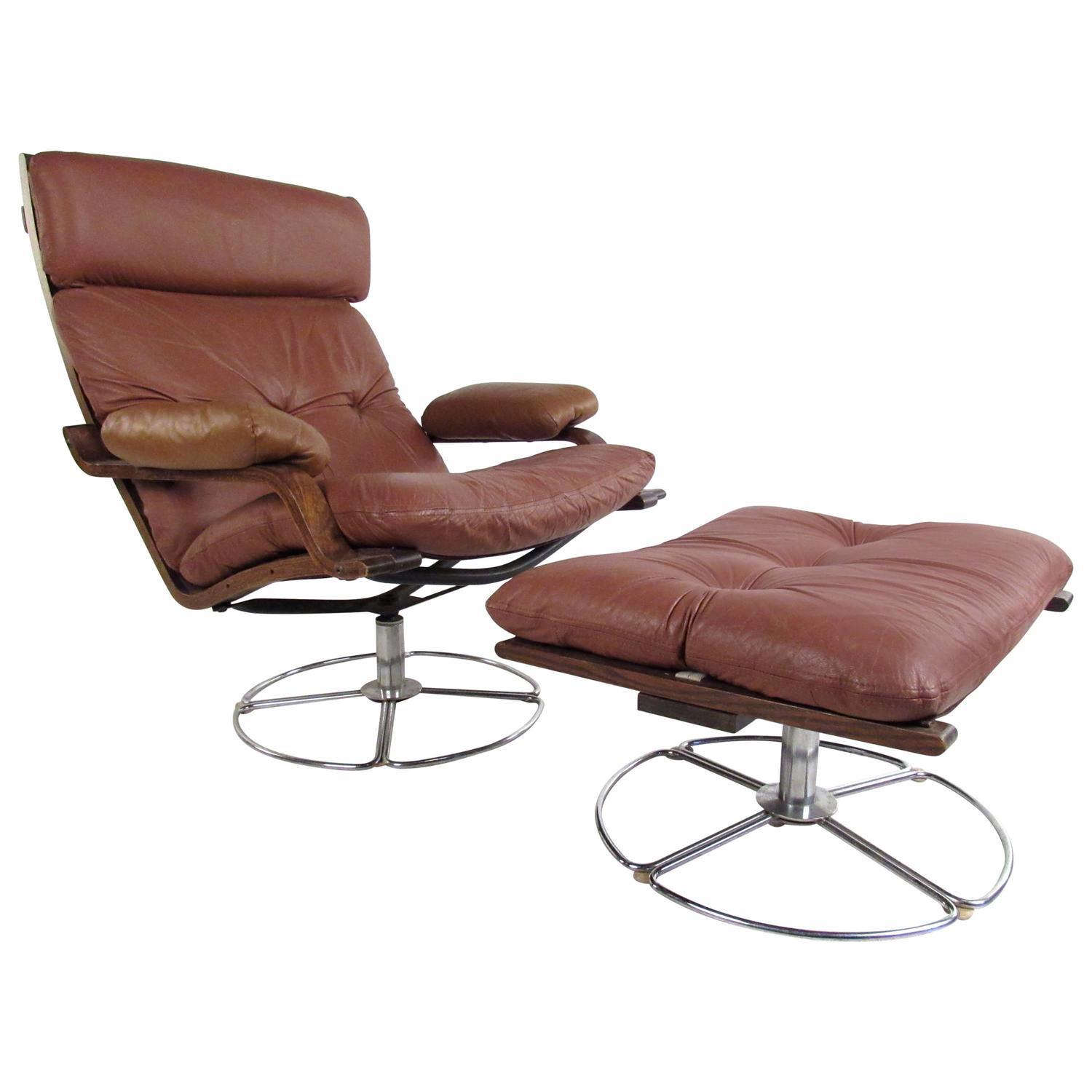swivel club chair with ottoman folding legs vintage leather westnofa style lounge