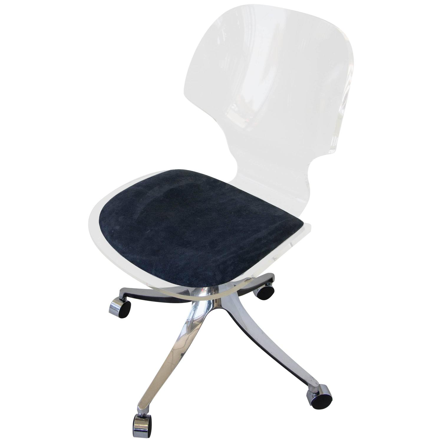 Roller Chairs Hill Manufacturing Co Lucite Rolling Desk Chair At 1stdibs
