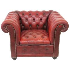 Red Club Chair Gioteck Rc5 Gaming Review Leather Tufted Chesterfield Lounge At 1stdibs