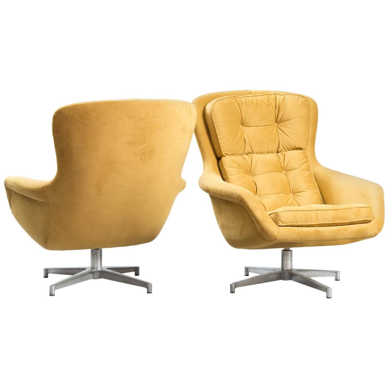 swivel chair mustard yellow office keeps sinking down alf svensson chairs for dux at 1stdibs