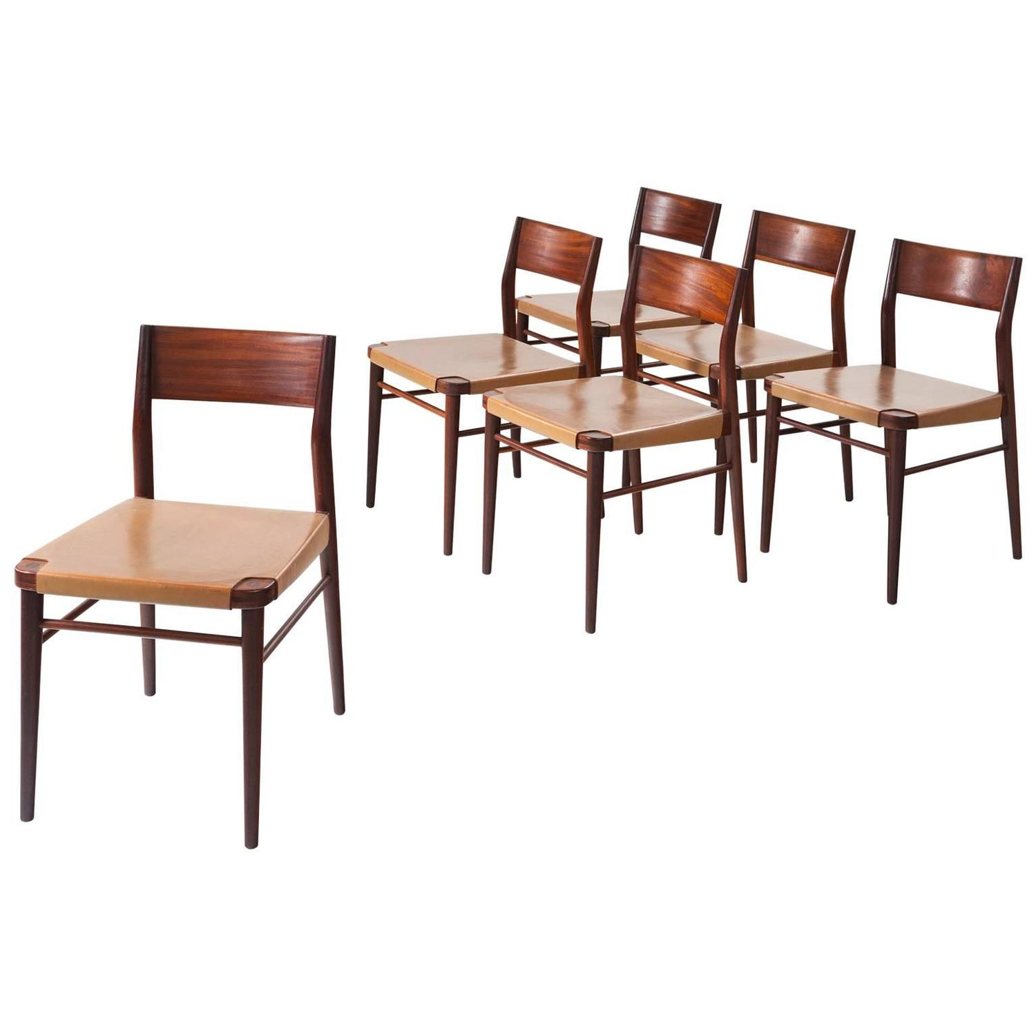 Italian Dining Chairs Set Of Six Italian Dining Chairs In Mahogany And Natural