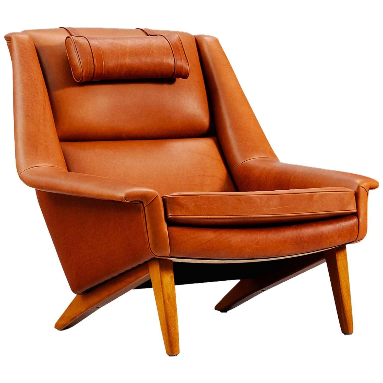 reupholster a chair with leather cover rental danish reupholstered lounge in cognac for
