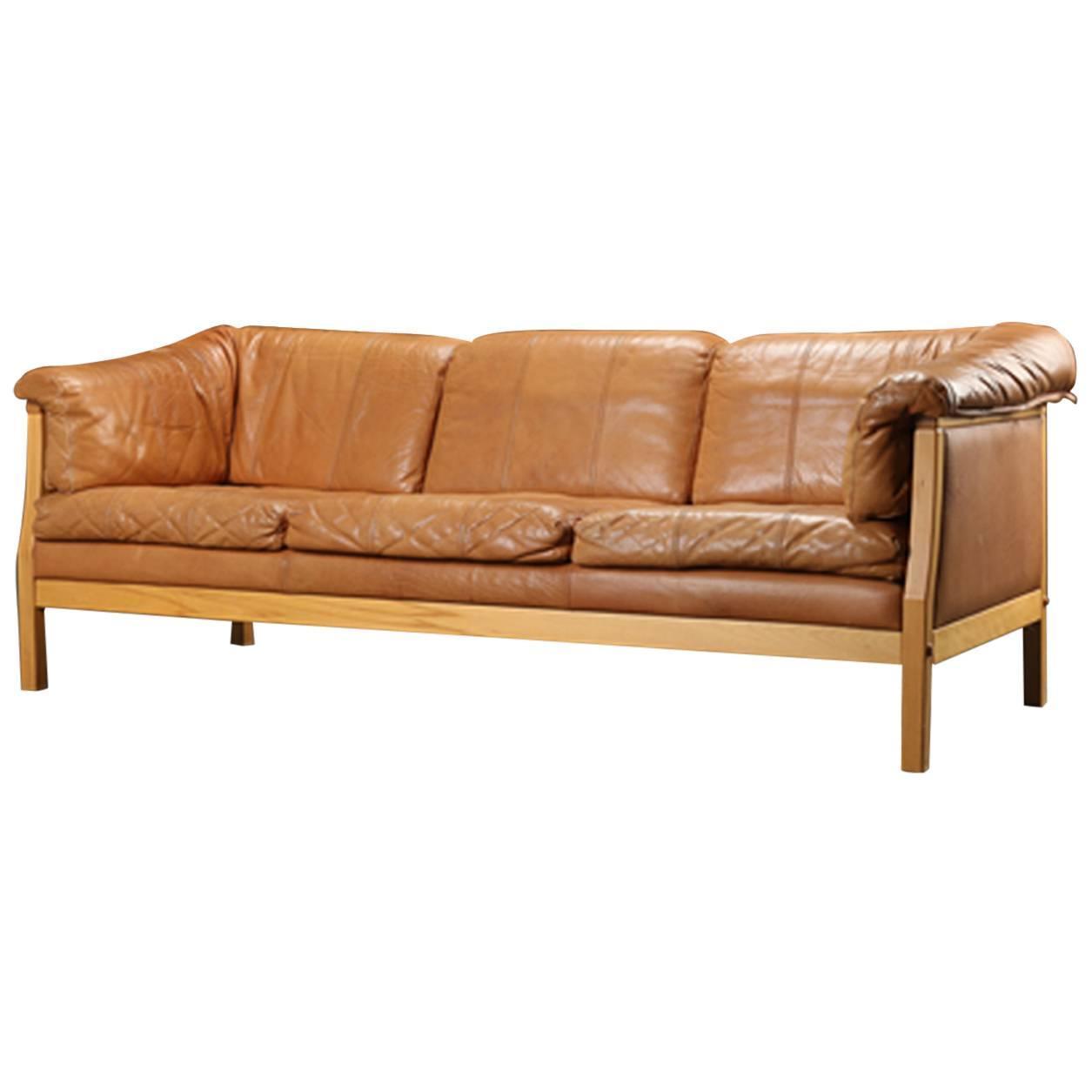 caramel colored leather sofas washable slipcovered danish modern sofa at 1stdibs