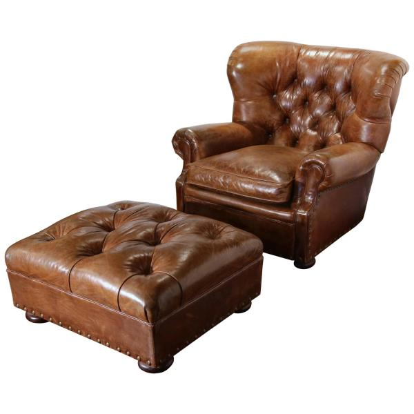 Large Vintage Ralph Lauren Brown Leather Armchair with