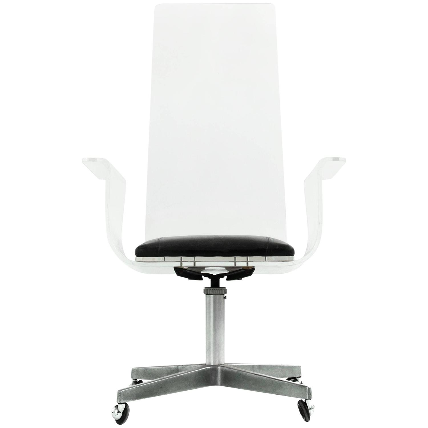 Acrylic Desk Chair Lucite Desk Chair In The Style Of Laverne For Sale At 1stdibs