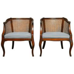 Mid Century Modern Cane Barrel Chairs W H Gunlocke Chair Pair Of Back At 1stdibs