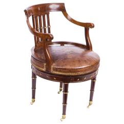 Revolving Desk Chair X Back Chairs Black Antique French Empire Circa 1870 At