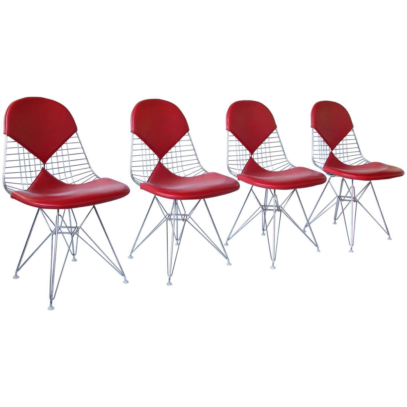 eames leather chair dining best covers for wedding 1950 charles and ray set of four dkr chairs red