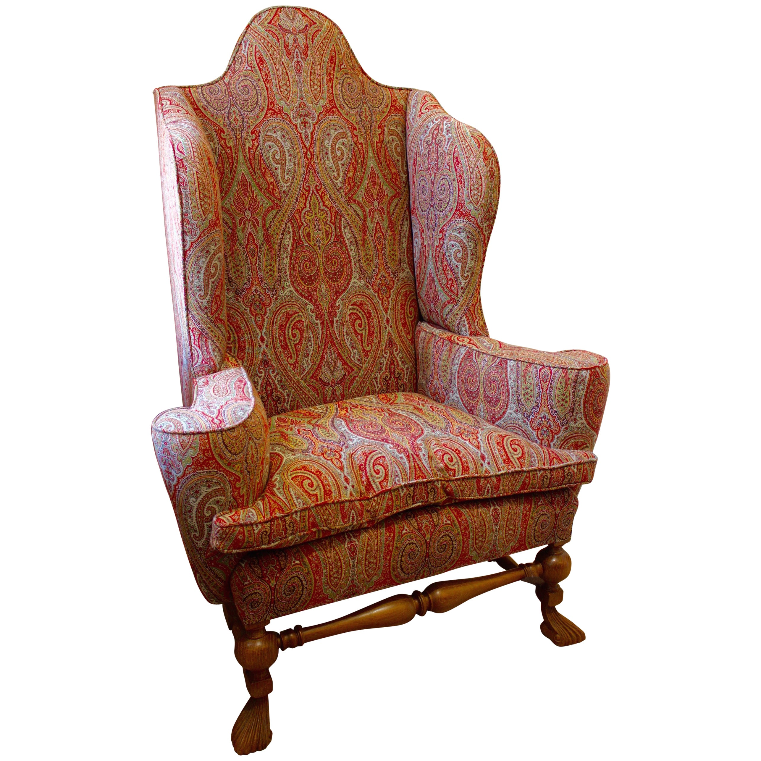 Paisley Chair William And Mary Wing Style Oak Wing Chair Upholstered In Etro Paisley