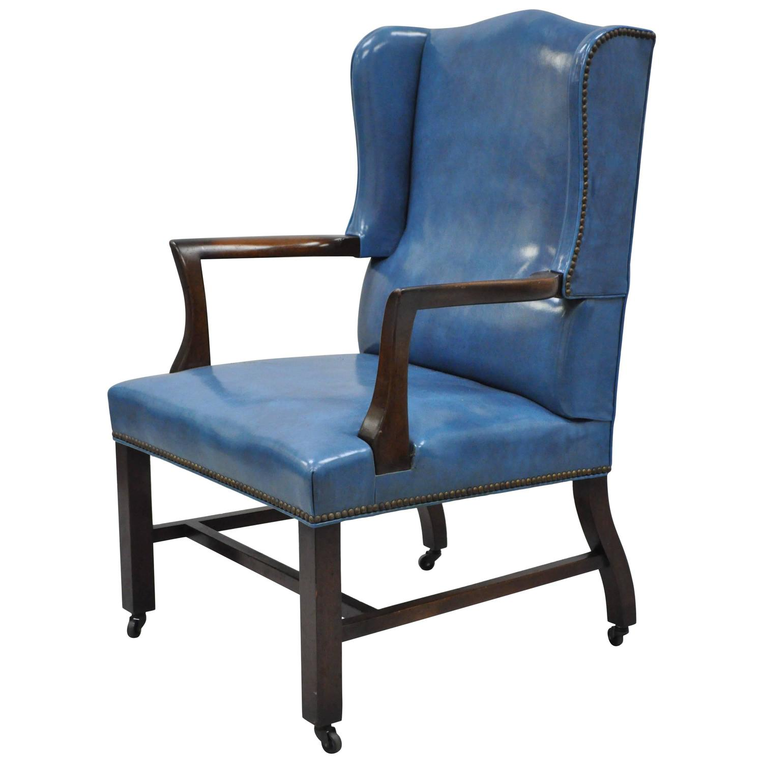 Blue Leather Dining Chairs Mid 20th Century Blue Leather Office Desk Chair On Casters