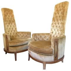 Gold Velvet Chair Covers For A Wedding Reception Hollywood Regency Pair Of High Back Chairs In Vintage
