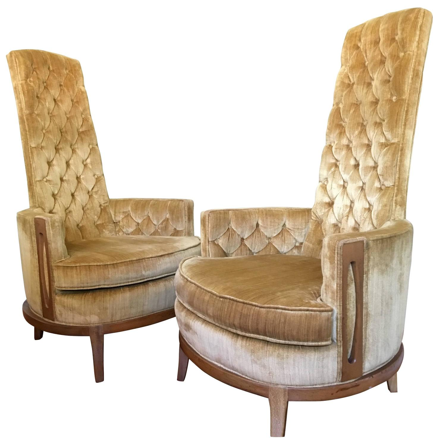 Gold Velvet Chair Hollywood Regency Pair Of High Back Chairs In Vintage