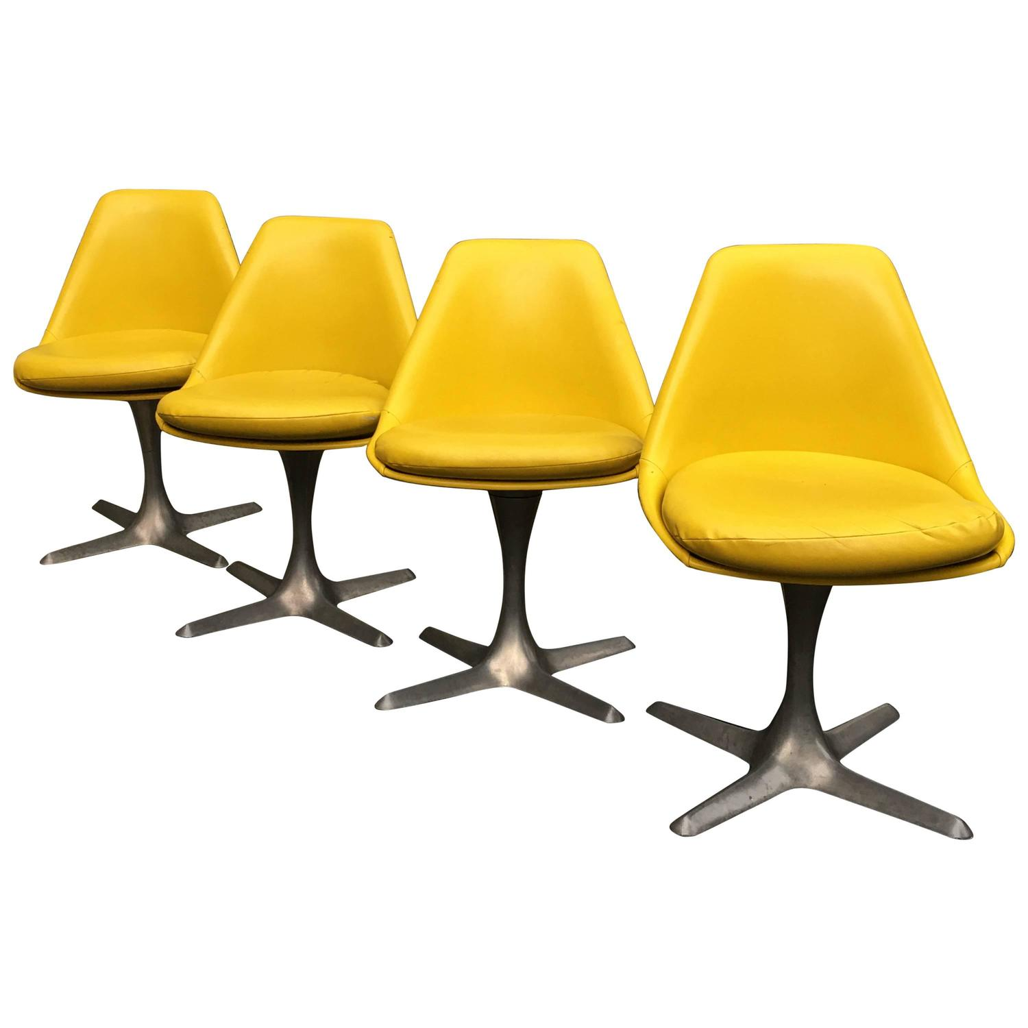 Yellow Dining Chair Four Knoll Yellow Dining Chairs For Sale At 1stdibs