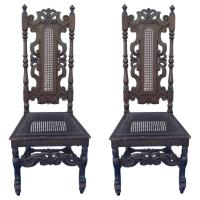 English William and Mary Style Banister Back Hall Chairs ...